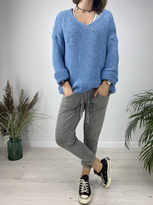 Sweter Basic niebieski