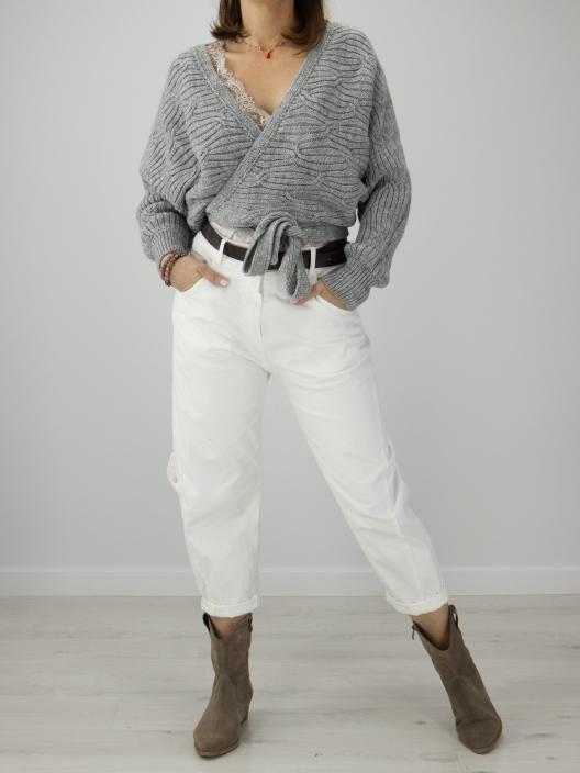 Sweter z wiązaniami szary