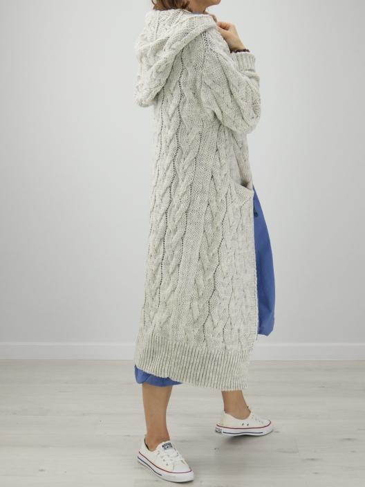 Sweterek Maxi jasny szary