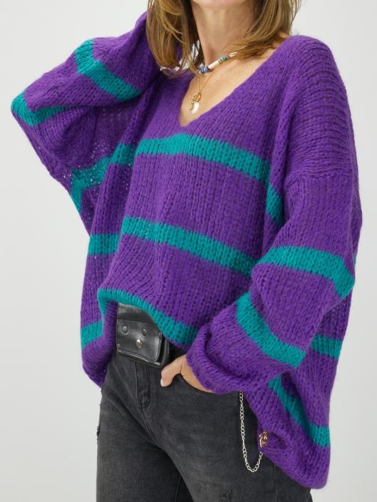 Dwukolorowy sweter z moherem