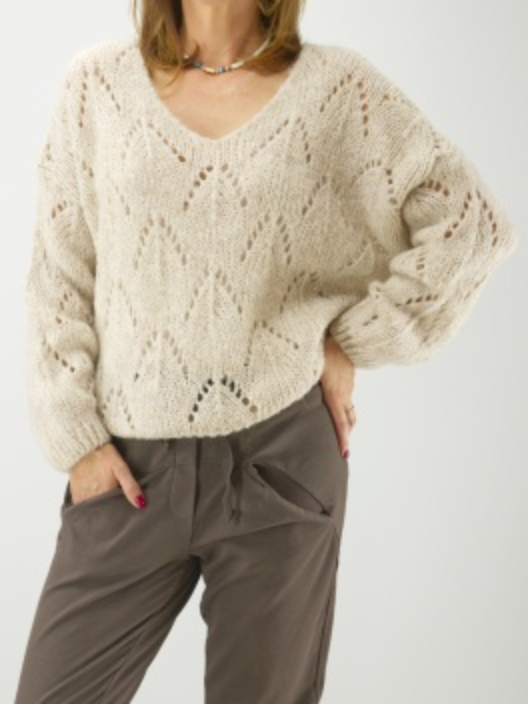 Sweter z ażuru beż